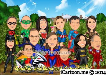 Farewell to Superwoman with all the superheros