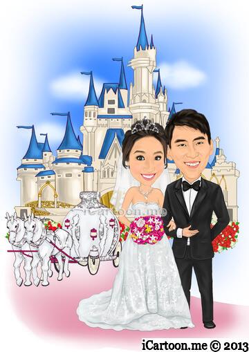 Wedding caricature with Cinderella Castle Magic Kingdom