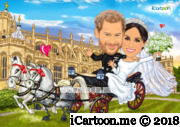 Prince Harry and Meghan wedding caricature in carriage and Windsor Castle
