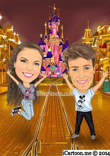 Caricature drawing - Couple in Disneyland Paris