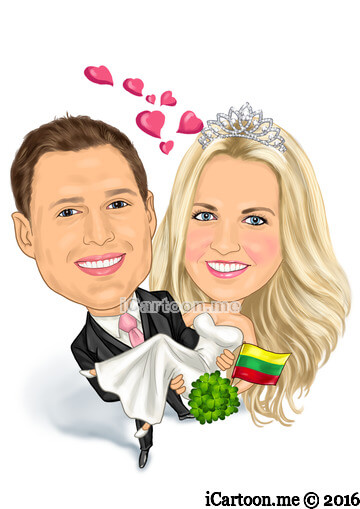 Happy wedding caricature picture - Irish and Lithuanian
