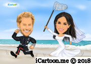 Prince Harry and Meghan Markle wedding caricature running in beach