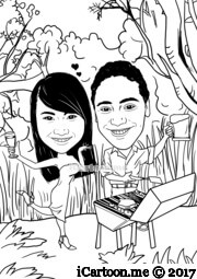 couple cooking BBQ with native bush background in line art