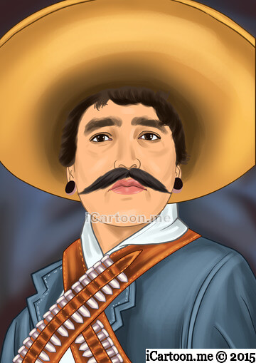 Caricature gift for husband's 30th birthday - Mexican bandit portrait like drawing