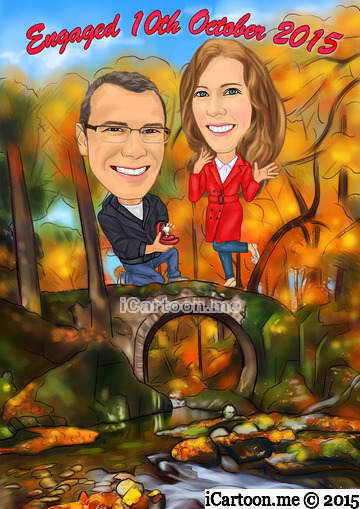 Picture to caricature for engagement announcement - proposing at Hermitage Bridge, Scotland in Autumn