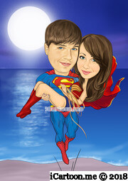 super hero holding the lucky girl flying up in front of romantic night beach