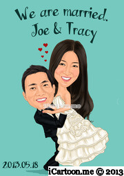 wedding caricature in wedding gown
