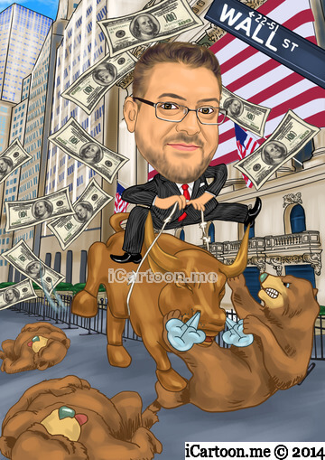 Caricature online - Wall street bull beating bears