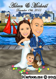 wedding caricature standing in front of sailboat and on Claddagh in Galway