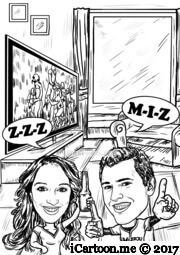 couple as football fans at home