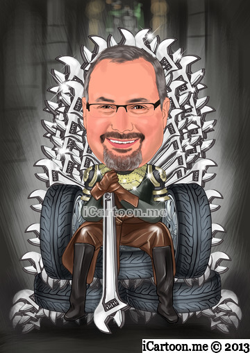 Game the thrones caricature - sitting on throne to be made of tires and wrenches