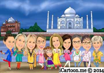 Group caricature to document our trip in Taj Mahal