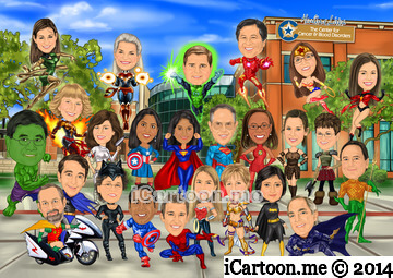 Group caricature for team - superheroes in front of bldg entrance lipscomb st building
