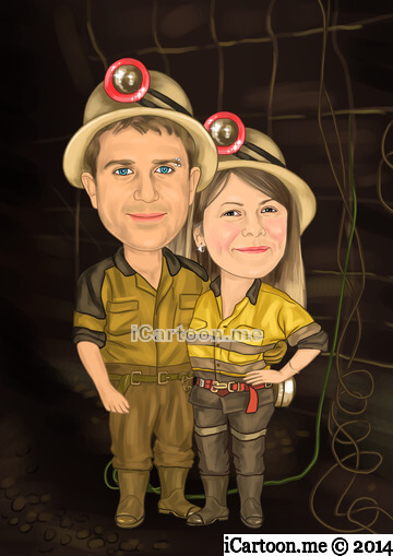 Caricature from photo - couple standing in underground mining