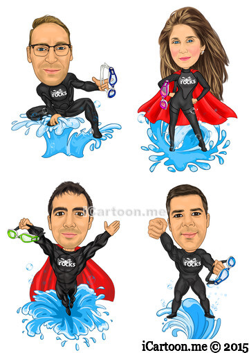 Make a cartoon of me from Photo - swimming instructor superheros