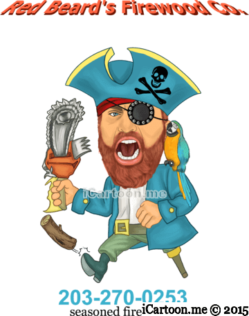 Caricature logo of Red Beard's Firewood Co.