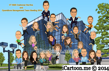 Group caricature for big event - team climbing new building