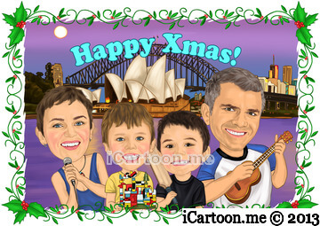 Happy Christmas Caricature Card - Family caricature