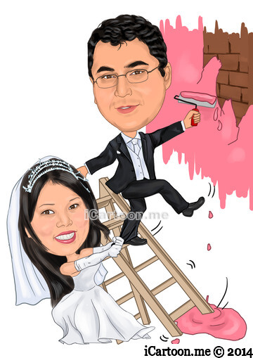 Wedding Invitation - bride making groom to get married from ladder