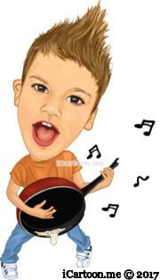kid play pot as guitar