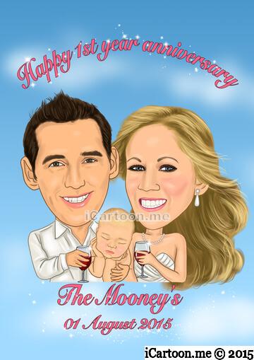 Happy 1st anniversary caricature gift with newborn baby