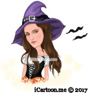 wizard woman in purple hat