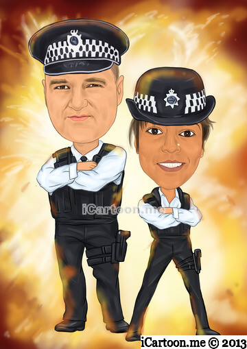 Caricature gift - Both in UK police uniform