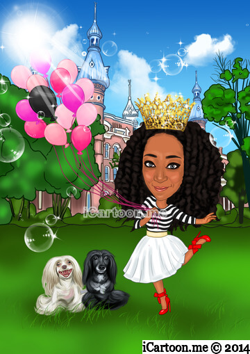 Caricature me - holding variations of balloons