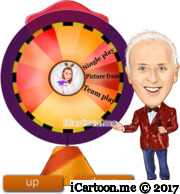 show master in a nice costume holding a microphone in front of a wheel