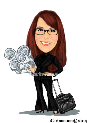 Business caricature - Interior designer holding lots of architectural blueprints