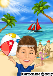 kid on a beach with beach ball, sand castle, palm trees and sailing boat