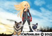 anime drawing standing with dog either side