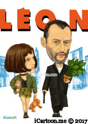Léon - The Professional - Jean Reno and Natalie Portman Movie Caricature