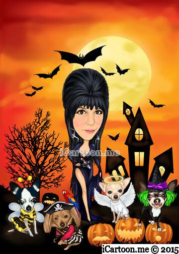 Halloween scene dressed like Elvira
