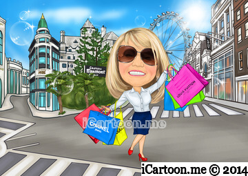 Custom caricature for retirement gift - shopping around the world including Rodeo Drive, Chateau Marmont, Bond Street and London Eye