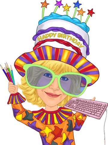 Pretty cute birthday artist with happy birthday hat