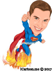superman flying with fire