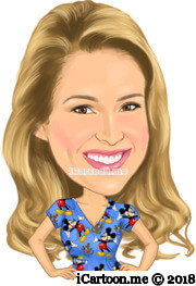 hands on hip with confidence female caricature