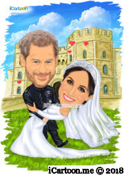 Prince Harry and Meghan wedding caricature dancing in front of Windsor Castle