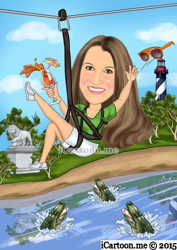 Birthday email invitation -  zipline over the Alligator Farm in St. Augustine