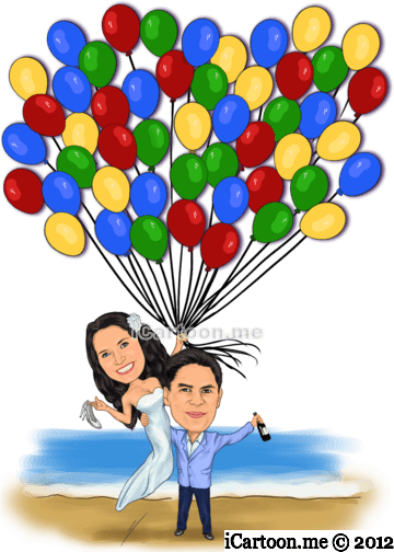 Wedding caricature poster for guest to sign - holding strings with colorful balloons