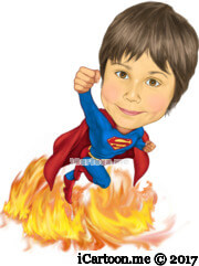 superman kid flying with flames underneath him
