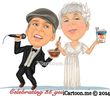 35th anniversary caricature gift for Dad and Mum