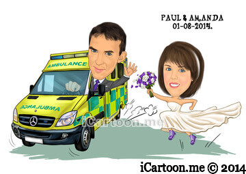 Wedding Invitation - Groom driving UK ambulance with bride running beside