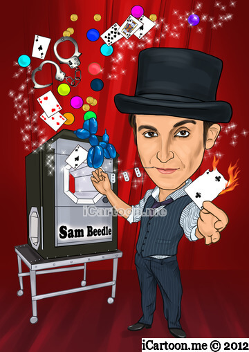 Photo to caricature gift for professional magician in stage