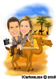 riding camel on desert with palm trees